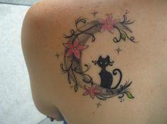 Tatouage de Chat Noir Omplate Dos Femme Ar1ps8nd