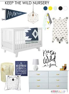 Keep the Wild Nursery Design Board - love this modern adventure baby boy nursery! | Project Nursery