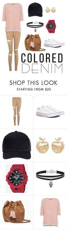 """Colored Denim"" by shxfire ❤ liked on Polyvore featuring Topshop, Converse, Miss Selfridge, Bony Levy, G-Shock, Betsey Johnson, UGG and French Connection"
