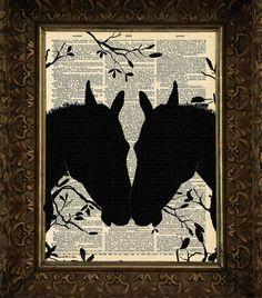 Love At First Sight Horses, Horse art print, dictionary Art, Book Art, wall Decor, Wall Art Mixed Media Collage