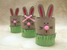 Easter bunny DIY crafts for the kids from toilet /loo rolls