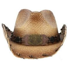 2ec56c9a9c8fd Peter Grimm - Revelation straw cowboy hat done in brown with leather and  bead accents.