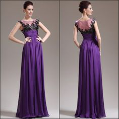 Best Selling Purple Black Lace Applique Sheer Body Empire Waist Fashion Evening Dress Prom Dress Ball Gown $145.00