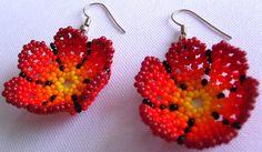 Mexican Huichol Beaded flower earrrings by Aramara on Etsy, $6.00