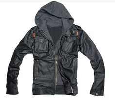Men leather jacket hood black leather coat M-L-XL-XXL-3XL. $80.00, via Etsy.