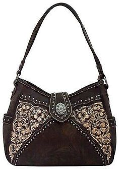 Montana West Concealed Carry Purse, CCW Shoulder Bag in Coffee Brown
