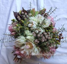 Love this bouquet of Australian spring natives with sugar and spice blushing brides. Winter Bridal Bouquets, Bridal Flowers, Wedding Bouquets, Bridesmaid Bouquets, Wedding Dresses, Pink Flowers, Wedding Flower Arrangements, Wedding Centerpieces, Floral Arrangements