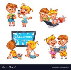 Children and technical progress. Kids talking on the ph , Funny Cartoon Characters, Cartoon Pics, Cartoon Drawings, Brother And Sis, Autism Learning, Picture Composition, Talking On The Phone, Character Development, Kids And Parenting