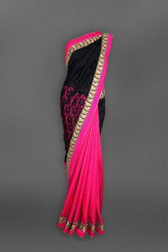 Black & Pink Lace Sari