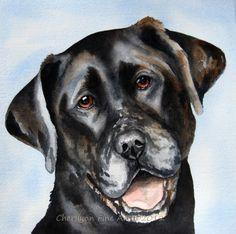 Black Lab Labrador Retriever dog original watercolor painting | CherilynnFineArt - Pets on ArtFire      awwwwww.  Looks like my mutts.  Only not as muttly.