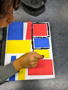 Zilker Elementary Art Class: Kinder Piet Mondrian Prints