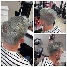 Steel Grey I did today #greyhair #bleachandtone #man #hair