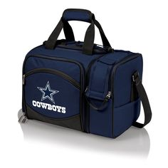The Dallas Cowboys Malibu Picnic Tote includes picnic service for two and is a fully insulated cooler tote as well