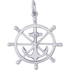 Ship Wheel Charm Silver - The Rembrandt Ship Wheel Charm can be ordered in Sterling Silver, Gold Plated, Gold, Gold, and White Gold.Rembrandt offers the finest charm collection available.Rembrandt Ship Wheel charm is part of the world's largest ch.
