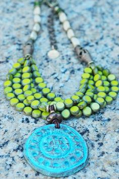 Himalaya: Edgy and vibrant, this phenomenal tribal pendant necklace is a bold green statement! This is a masterpiece of art-to-wear jewelry, a celebration of th