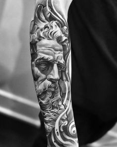 lilbtattoo provides some of the best black and grey tattoos. He focuses on realism tattoos, religious tattoos, greek statue tattoos and sleeve tattoos Arm Tattoos Forearm, Forarm Tattoos, Full Sleeve Tattoos, Tattoo Sleeve Designs, Tattoo Arm, God Tattoos, Badass Tattoos, Lil B Tattoo, Mary Tattoo