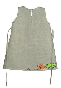Flower Gray girl linen dress painted dress Hand by InGAartWork