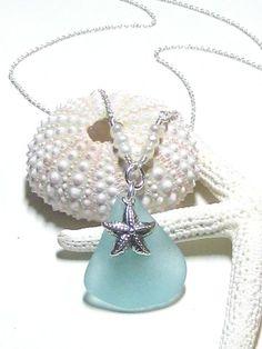 Aqua starfish and pearl sea glass necklace