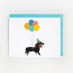Birthday Card, Illustrated Dachshund