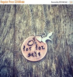 Oh For Fox Sake, Funny Necklace, Copper Jewelry, Novelty, Girl Boss, Hand Stamped Gifts, Snarky Sassy Humor, Love Foxes, Best Friends, BFFS