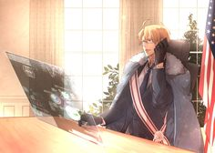 Hetalia - America (Alfred F. Jones) - a cool Alfred running the show behind the scenes?
