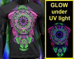 neon fluorescent t-shirt Glow under UV blacklight by CosmicSoma