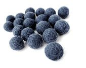 Felt Balls Blue - 20 Pure Wool Beads 15mm -  midnight blue shades - Flat rate shipping