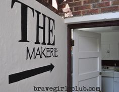 A neat idea from Patrice at Brave Girls Club...stenciling on the wall leading to her basement art studio. Love it SO much!!!
