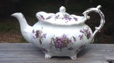 "Hammersley/Spode ""Victorian Violets"" Bone China Teapot England Purple Gold #HammersleySpode"