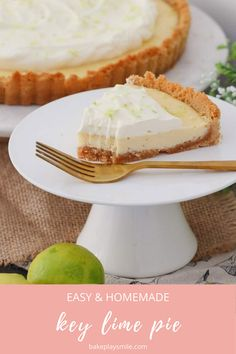 The easiest key lime pie recipe made with a crushed cookie base, a creamy sweetened condensed milk lime filling and a whipped cream topping. A quick and easy dessert the whole family will love! #key #lime #pie #recipe #dessert #thermomix #conventional #sweet #cream Quick Easy Desserts, Fun Desserts, Delicious Desserts, Best Dessert Recipes, Pie Recipes, Baking Recipes, Dessert Ideas, Coconut Slice, Keylime Pie Recipe
