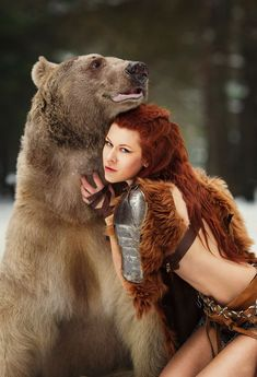 Cosplaying as Brave Merida with an actual bear