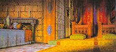 Sleeping Beauty, King Stephan's throne room background painting