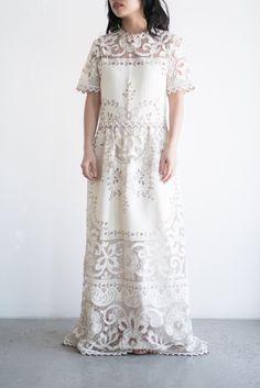 1970s Boho Crochet Lace Gown - M/L