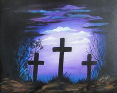 Holy Crosses Blue Background Painting 11 x 14 by TreeTownArt