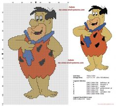 cross stitch, etamin, çarpı işi, Fred Flintstone