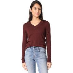 A.P.C. Ava Sweater (298 AUD) ❤ liked on Polyvore featuring tops, sweaters, bordeaux, a.p.c. sweater, long sleeve sweater, lightweight v neck sweaters, red v neck sweater and v neck tops