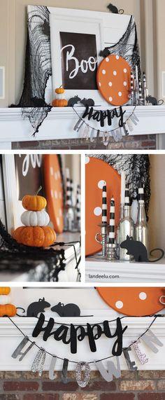 DIY Halloween Mantel Decorations Ideas - Such a cute Halloween mantel! Love the mice!