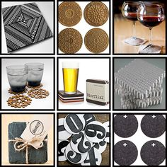 Top Right-- best idea for coasters ever. Travels with glass! lol