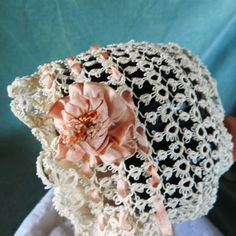 Antique,Vintage tatting lace crocheted doll, baby bonnet ,ribbons ,   eBay