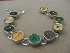 Typewriter key jewelry Bracelet  Spells 1 of A KIND by magiccloset, $45.00