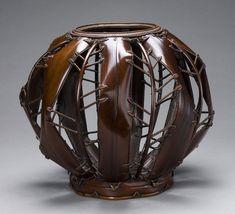 Basketry, Sakaguchi Sounsai, Artist, Flower Basket, Bamboo (smoked madake [susutake]) and rattan,   selected techniques: flattened and bent bamboo, chrysanthemum base plaiting, H. 13 1/2 in x Diam. 15 1/2 in.