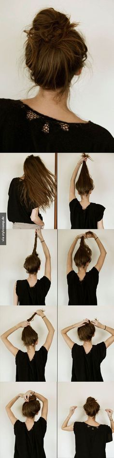 15 Easy Hairstyles For Long Thick Hair To Make You Want Short Hair - Hair Styles Messy Bun Hairstyles, Diy Hairstyles, Bun Updo, Casual Hairstyles, Bun Braid, Hair Updo, Fishtail Plaits, Braided Buns, Wedding Hairstyles