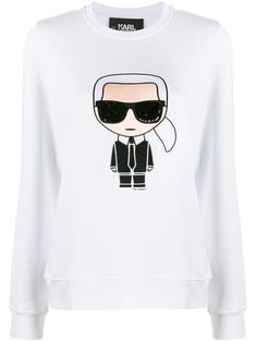 White cotton Karl motif long-sleeve top from Karl Lagerfeld featuring a round neck, long sleeves, a slim fit and a Karl motif print. Karl Lagerfeld Men, Stockholm Street Style, Paris Street, Milan Fashion Weeks, London Fashion, Embroidered Sweatshirts, Fashion Sketches, Size Clothing, Long Sleeve Tops