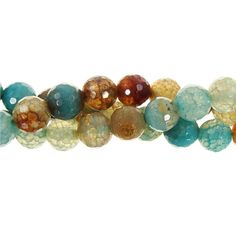 Antique Blue Agate Faceted 8mm Round Bead Strand