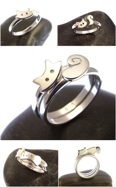 Cat Stacking Ring Set (2 pcs.) in Sterling Silver | Etsy