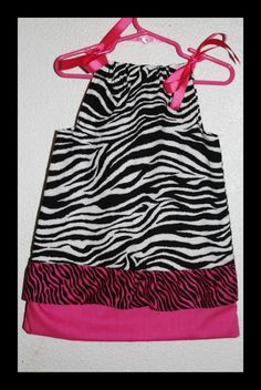 Boutiques style black  white zebra and hot pink Pillowcase dress.  Custom Orders are Available.    www.SassyPantsand... www.Facebook.com/... sassy-pants-more-kids-pillowcase-clothing