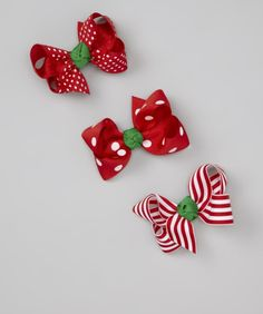 Take a look at this tiny bundles Red & Green Medium Holiday Bows Set on zulily today! Making Hair Bows, Diy Hair Bows, Diy Bow, Newberry Dolls, Gingerbread Crafts, Ribbon Braids, Christmas Hair Bows, Baby Hair Accessories, Boutique Hair Bows