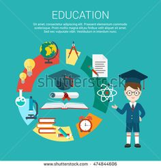 Flat student point to education process cycle and graduation certificate achievement vector illustration. Educational and knowledge infographics concept.