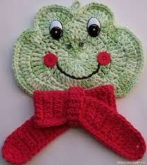 Crochet Frog Potholder by Linda Weddle Crochet Frog, Crochet Motif, Crochet Stitches, Free Crochet, Crochet Patterns, Crochet Afghans, Crochet Potholders, Crochet Hot Pads, Crochet Towel
