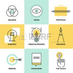 creative: Creative concept de processus de conception avec des éléments de développement web studio - vision de l'entreprise, la stratégie de marketing, solution intelligente et idées de succès. Ligne plate icônes illustration vectorielle style moderne ensemble. Illustration